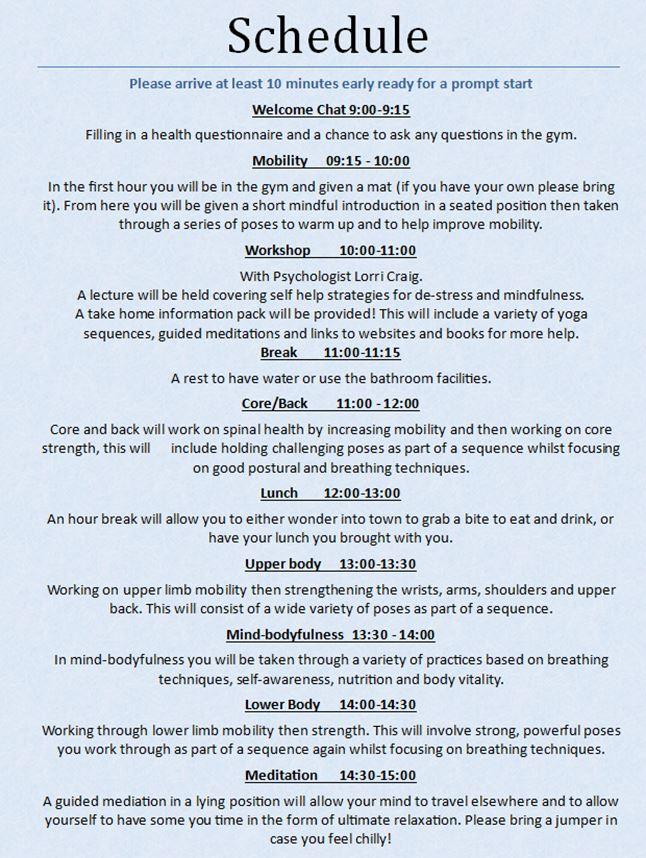 Mindfulness Day back